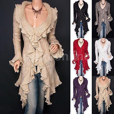 Beautiful Ruffles Knit Collared Asymmetric Hem Cardigan Long Sweater Jacket