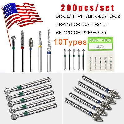 200pcs Dental Diamond Burs For High Speed Handpiece Medium Fg 1.6mm 10 Types Usa