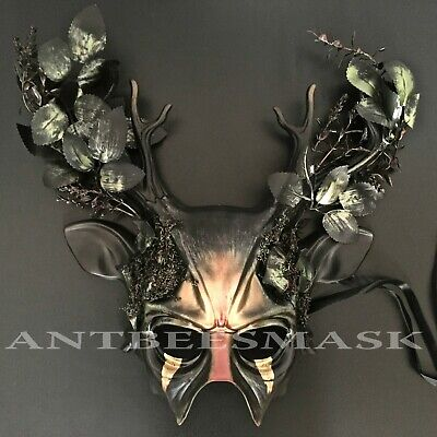 Halloween Forest Deer Horns Futuristic Leaves Masquerade Cosplay Costume Mask