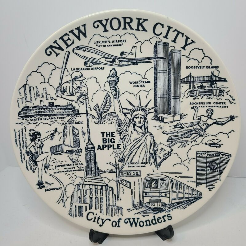 Vintage New York City Souvenir Plate Twin Towers Landmarks City Of Wonders