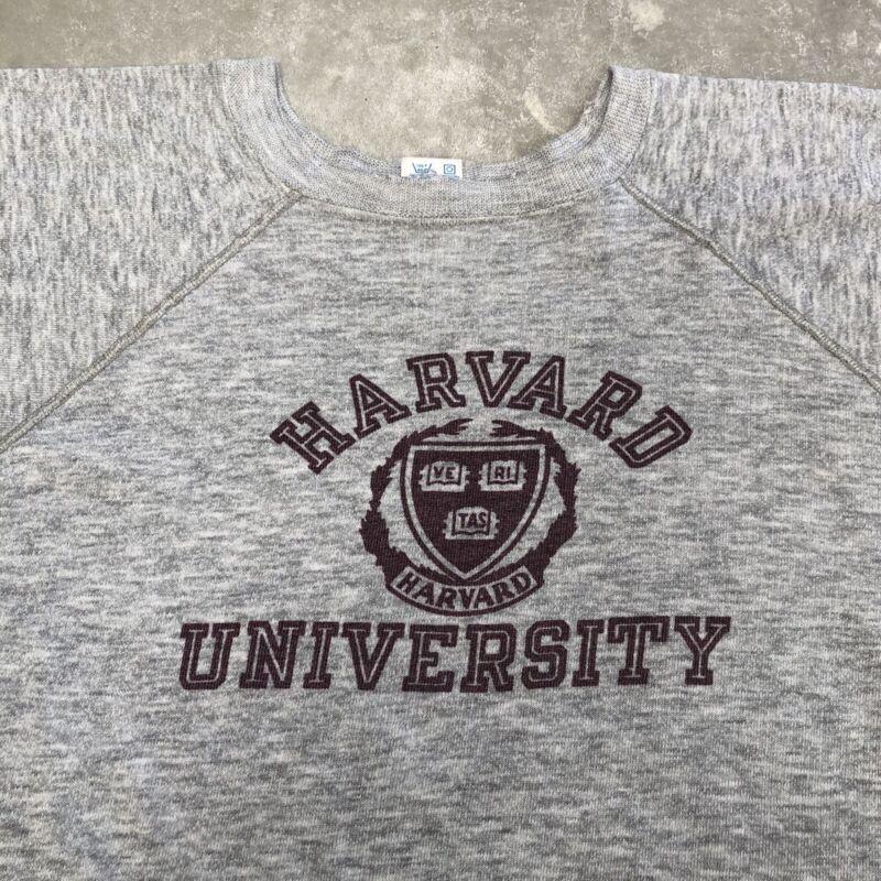 Vintage Harvard Sweatshirt Champion 80s Grey Raglan Print Large Athletic