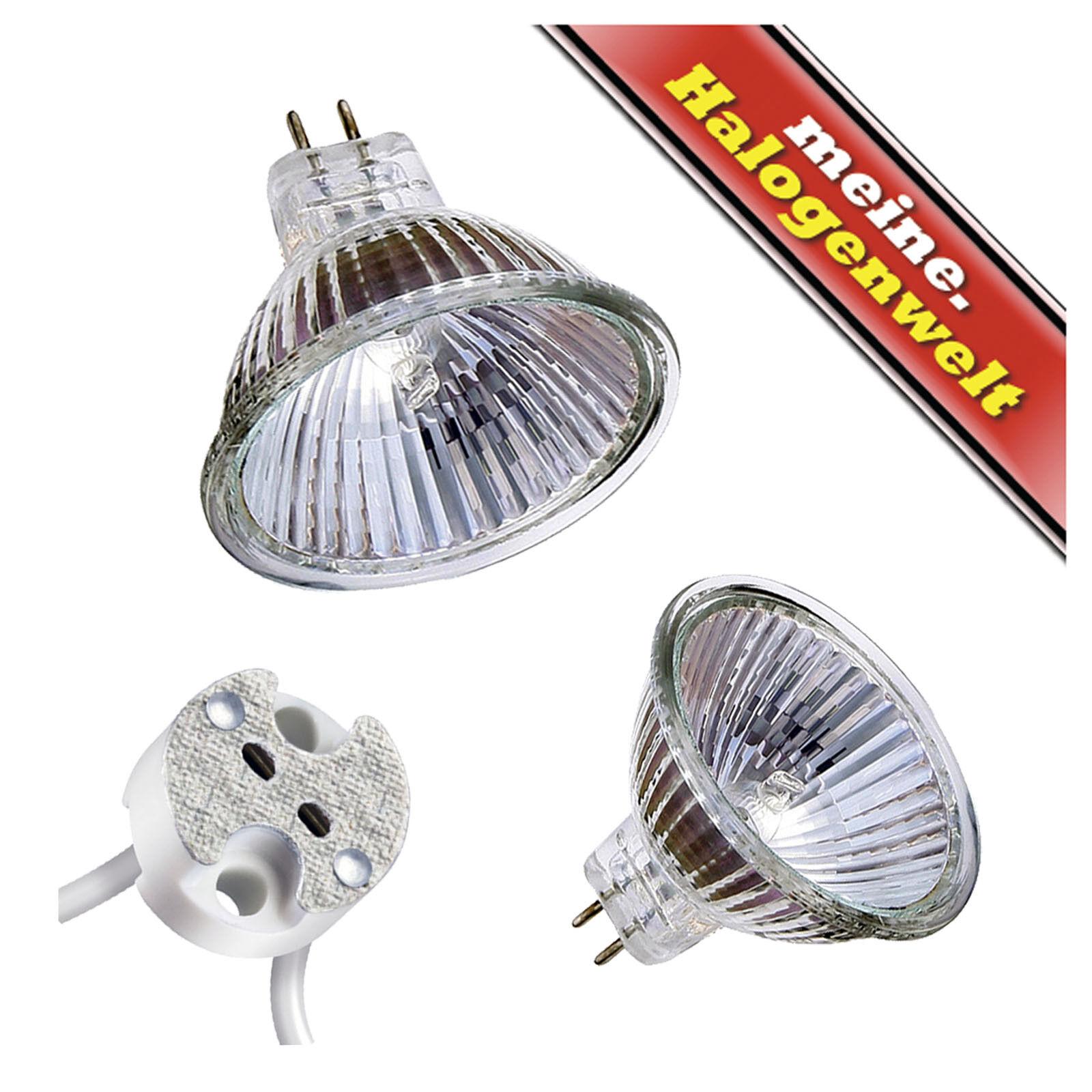 1-2-3-5-10-20 x Halogen-Leuchtmittel MR16 20W-35W-50W 12V GU5,3 Strahler Fassung