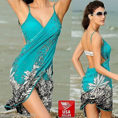 Sexy Quality Womens Bikini Cover-Up Beach Sarong Wrap Dress Floral Pool Wear