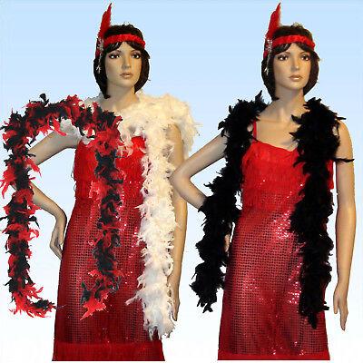 Lange Federboa mit echten Federn schwarz oder weiß Boa f. Charleston Kostüme ()