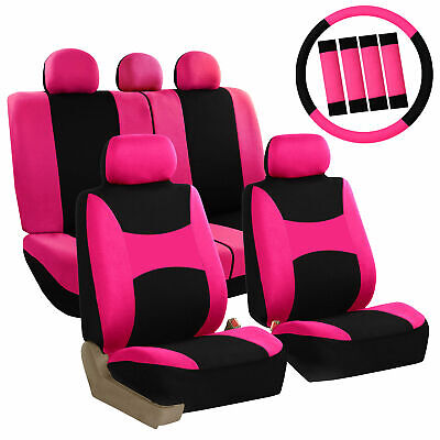 Pink Black Car Seat Covers for Auto SUV Van w/ Steering Whee Coverl/ Belt Pad Car Seat Belt Cover Pad