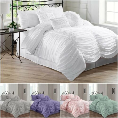 Chezmoi Collection Chic Ruched Ruffle Pleated Textured Comforter Bedding Set