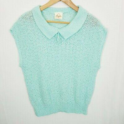 80s Sweatshirts, Sweaters, Vests | Women BRETTLES Vintage Size XL Baby Blue Sleeveless Collared Knit Jumper / Vest $22.24 AT vintagedancer.com