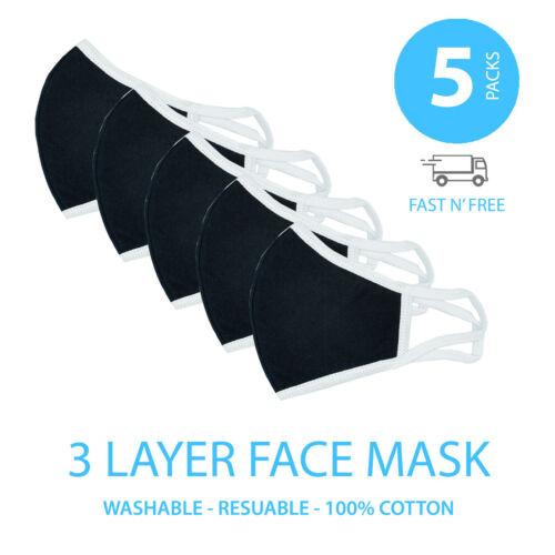 5pcs Face Nose Mask Unisex Washable Reusable Soft Triple Layer Cotton