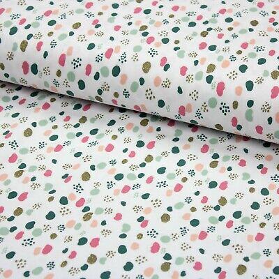 Stoff Jersey Baumwolljersey Glitter Dots weiß - Kinderstoff -