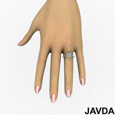 Asscher Shape Diamond Engagement GIA H VS2 18k White Gold Halo Pave Set Ring 1Ct 4