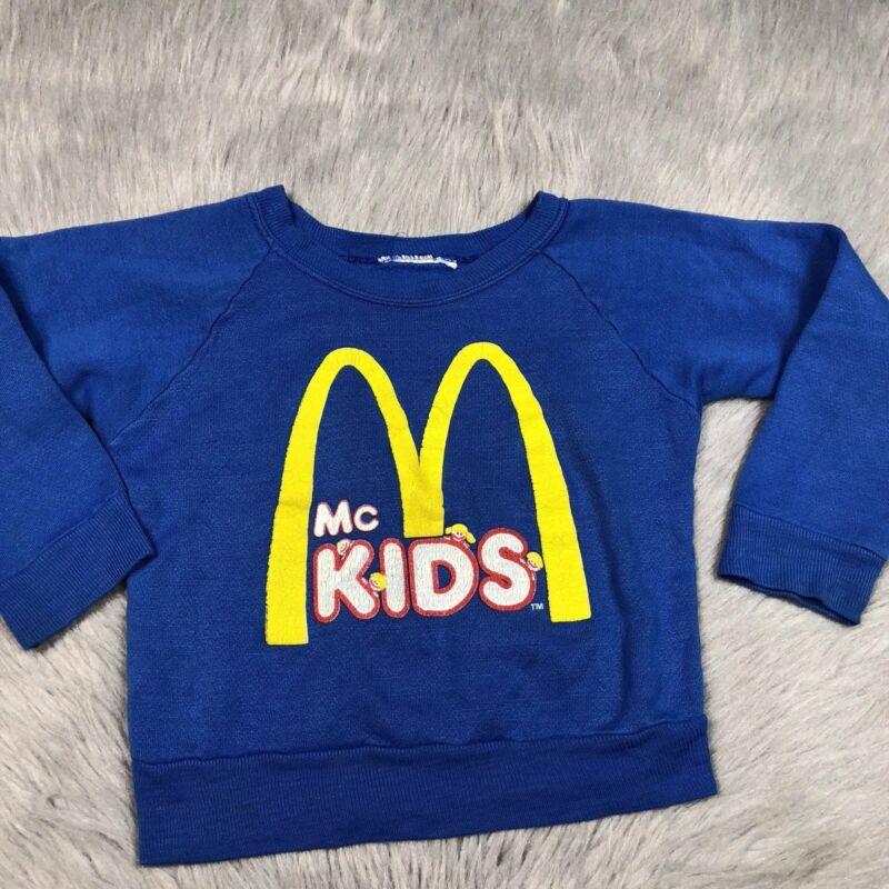 Vintage 80s Mcdonalds McKids Blue Crew Sweater Toddler Girls Boys