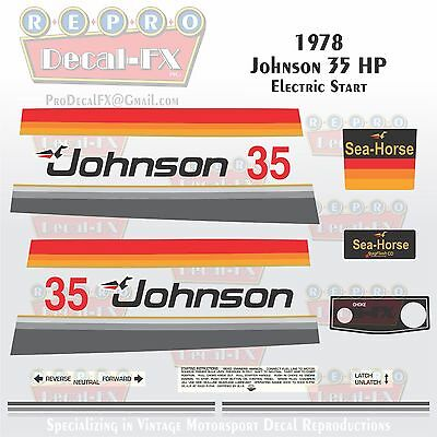 (1978 Johnson 35HP Electric Start Outboard Reproduction 18 Pc Marine Vinyl Decals)