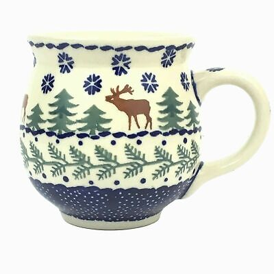 Boleslawiec Polish Pottery Mug Bubble Coffee Cup Moose Reindeer Christmas Tree Polish Pottery Coffee Mug