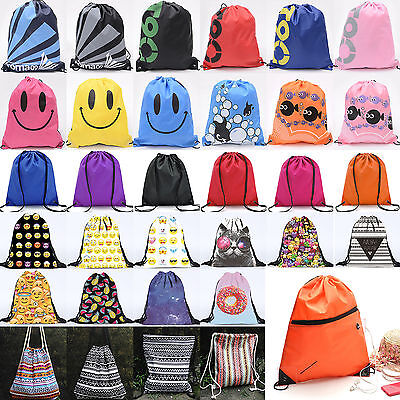 Unisex String Drawstring Backpack Cinch Sack School Tote Gym Bag Shoe Sport Pack - Cinch Backpack