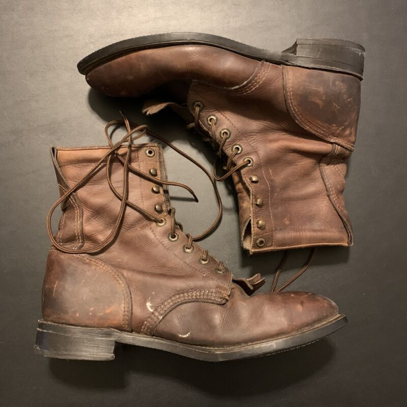 Vintage 60s Brown Leather Boot Mens 12 1963 Military Fashion Menswear Style 50s