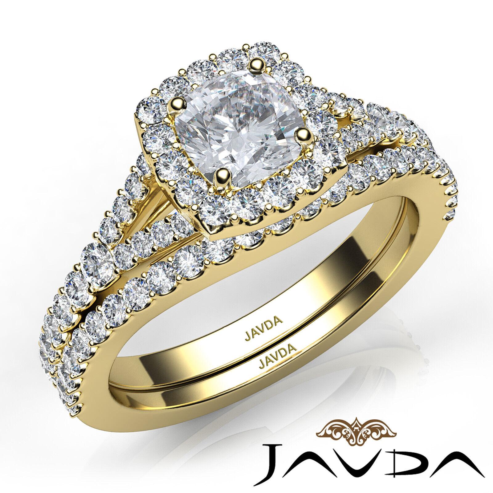 1.5ctw U Cut Pave Halo Bridal Cushion Diamond Engagement Ring GIA F-VS2 W Gold 9