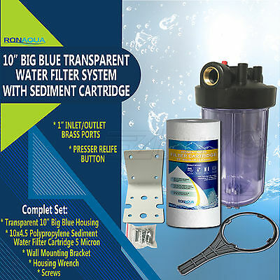 "10"" Transparent Big Blue Whole House System with 4.5x10"" Polypropylene Sediment"