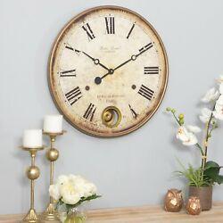 Large Wall Clock Big Vintage Rustic Antique Distressed Metal Wood 22 Diameter