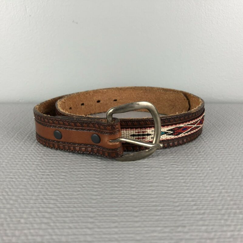 Justin Leather Cowhide Belt Tribal Ribbon Woven Braided Belt Concho 26