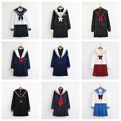 Women School Girl Sailor Uniform Set JK Long Sleeve Blouse Skirt Cosplay Costume ()