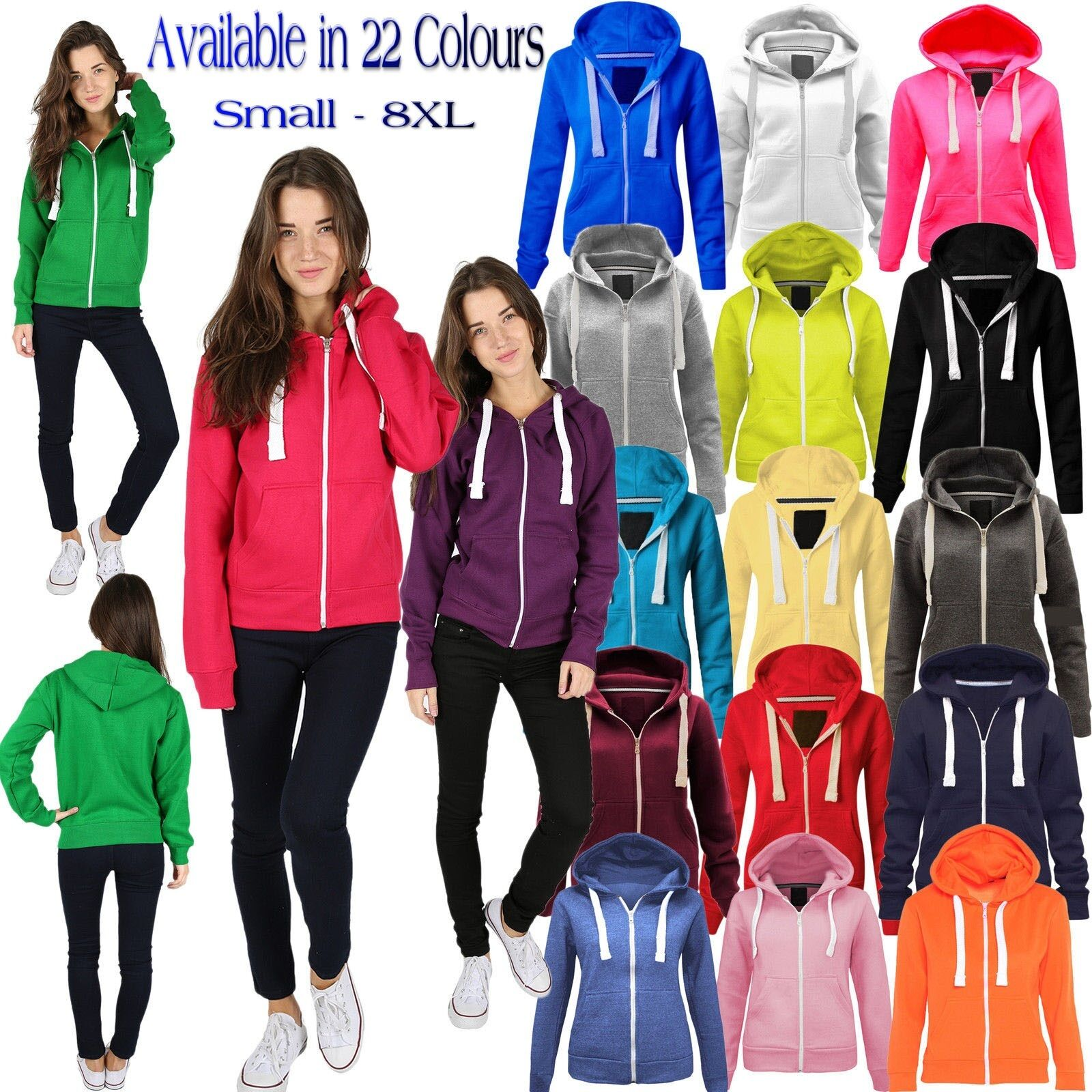Womens Fleece PLAIN ZIP HOODIE Plus Size Zipper Sweatshirt Jacket Small-8XL 8-30