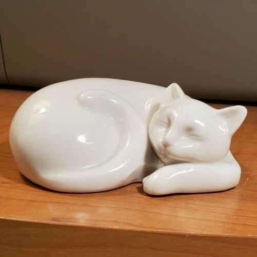 White Cat Porcelain Curled Up Sleeping Figurine
