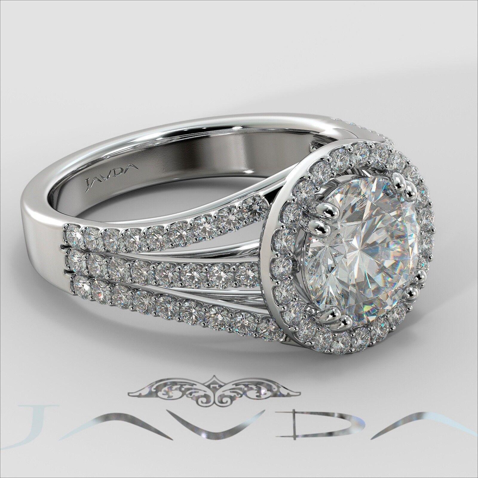2ct Trio Shank Halo Sidestone Round Diamond Engagement Ring GIA E-VS2 White Gold 2