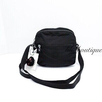 NWT Kipling HB6467 Keefe Shoulder Crossbody Bag Double Zip Nylon Black Tonal $79