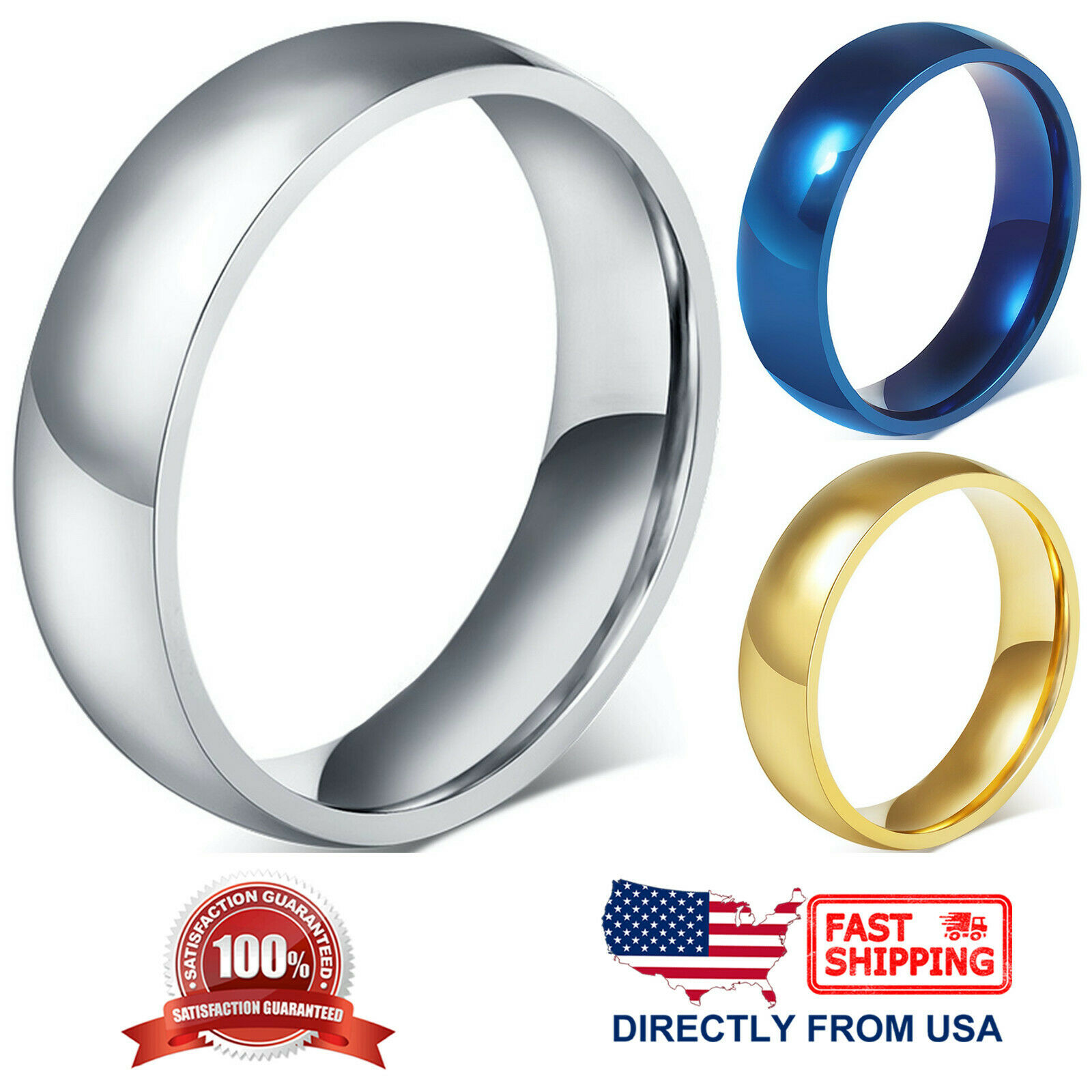 Stainless Steel Wedding Band 6mm Polished Comfort Fit Men's & Women's Ring Jewelry & Watches