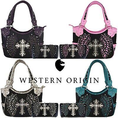 Western Cross Laser Cut Wing Country Handbag Purse Women Shoulder Bag Wallet Set ()