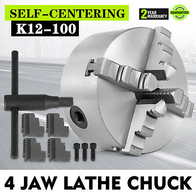 4 Jaw Self-Centering Lathe Chuck 4 Inch Milling Hardened Ste