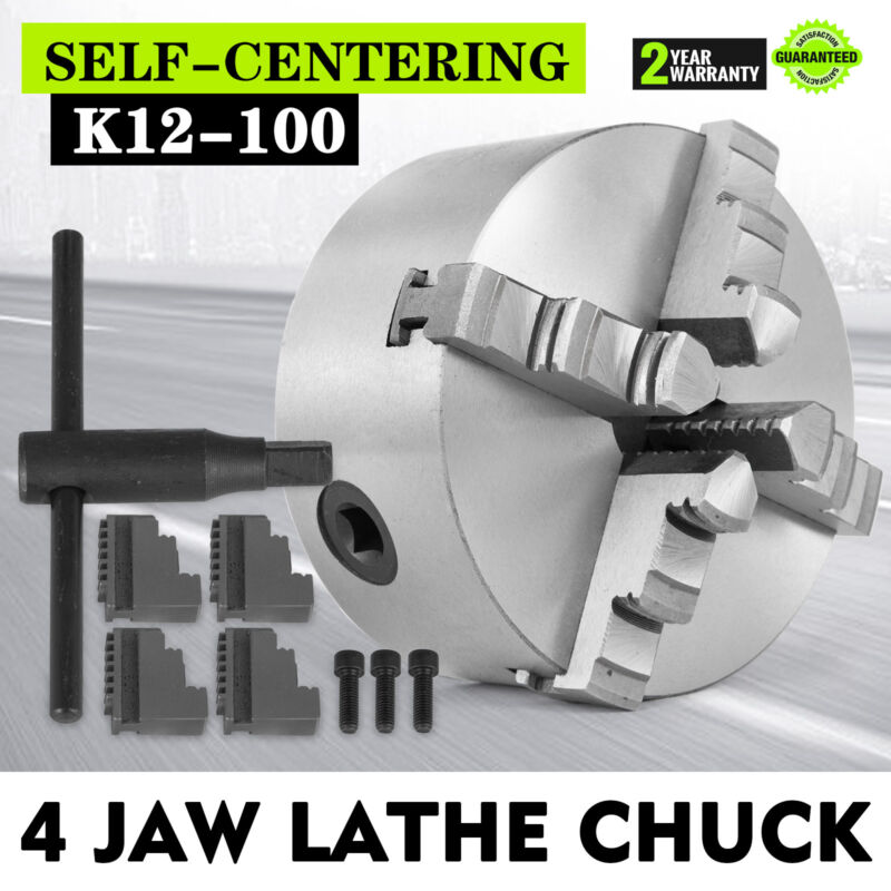 4 Jaw Self-Centering Lathe Chuck 4 Inch Milling Hardened Steel K12-100 Silver