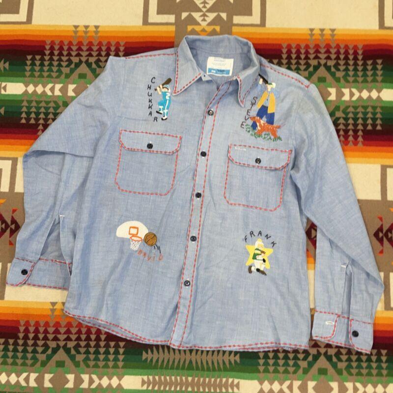Vintage Sears Qork Leisure Medium 15-15.5 Shirt Boho Embroidered Grandma Art