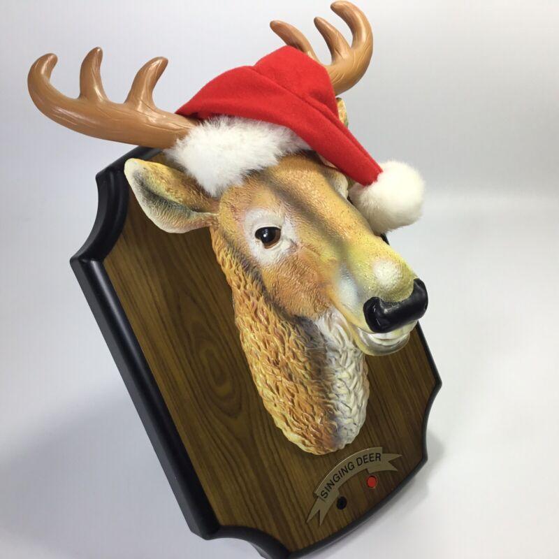 Gemmy~Singing Deer~Grandma Got Run over by a Reindeer~Animated~See Video~Plaque~