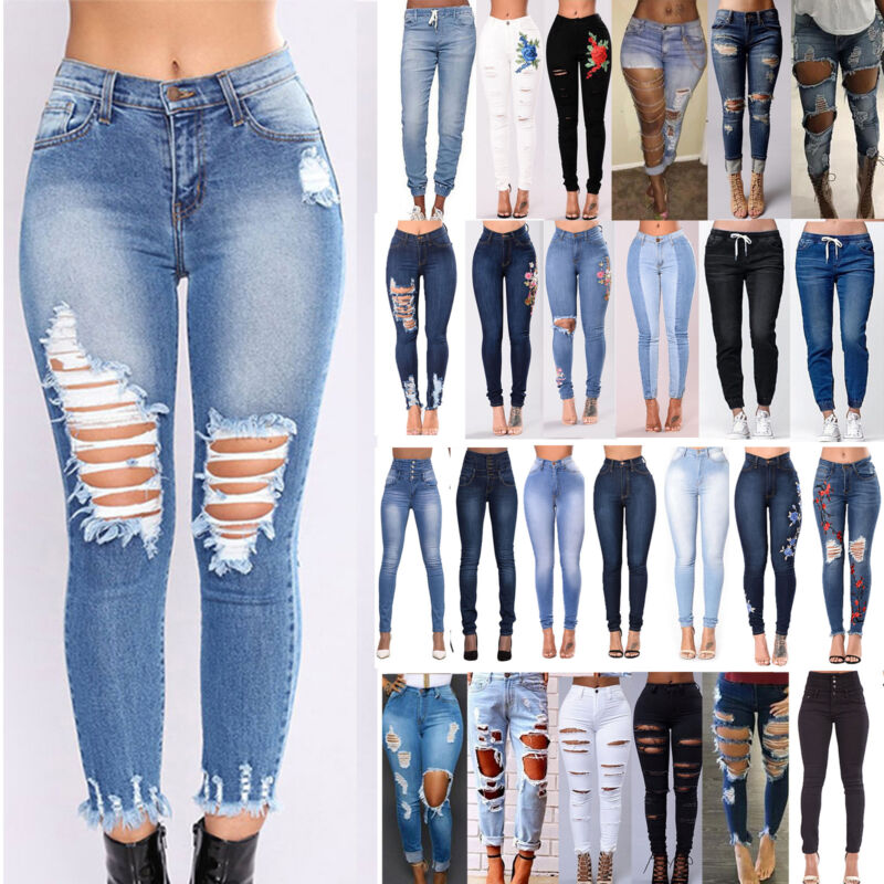 Womens Stretch Skinny Ripped Denim Jeans Jeggings High Waist