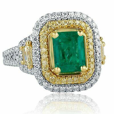 GIA 3.02Ct Colombian Emerald Octagonal Step Cut Diamond Engagement Ring 18k Gold