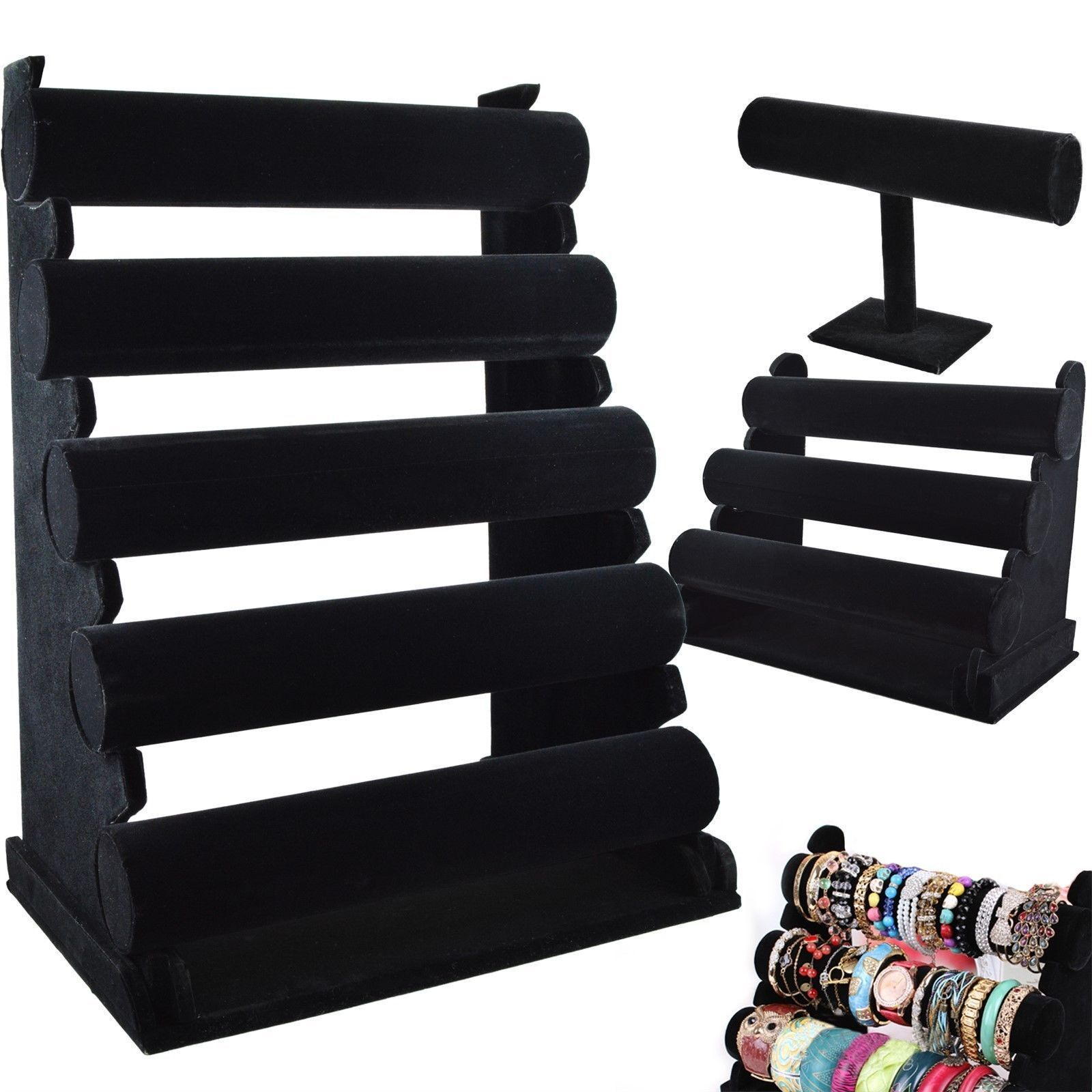 Jewellery - 1 / 3 / 5 TIER BANGLE WATCH BRACELET JEWELLERY DISPLAY STAND QUALITY VELVET RACK
