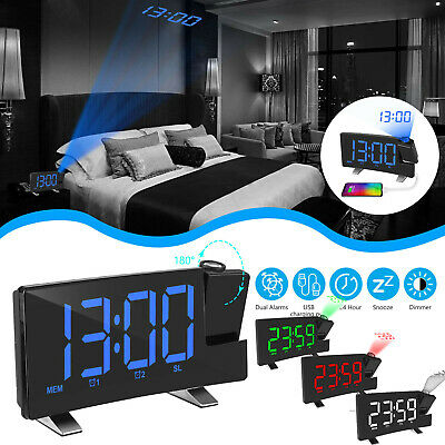 8'' Projection Digital Snooze Alarm Clock LED Backlight Dual Alarms FM USB Port