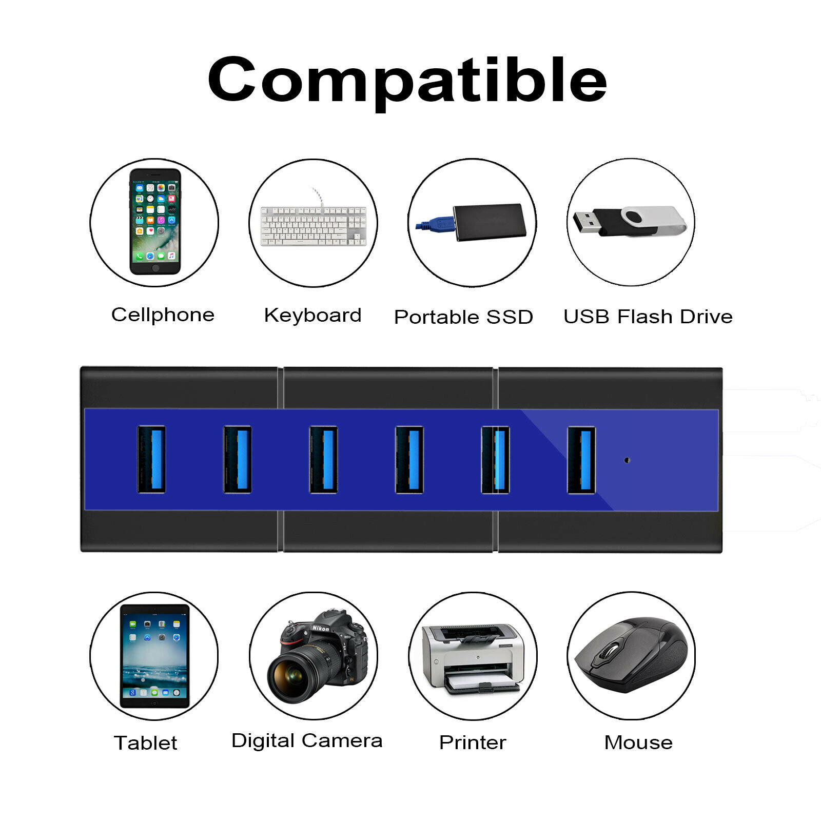 KOOTION High Speed 6 Ports USB 3.0 Hub Adapter Charging For Mac Laptop Notebook