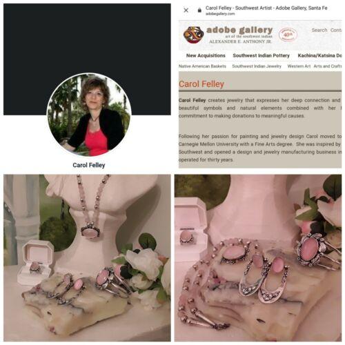 Carol Felley, Necklace, Cuff, Earrings & Ring Set  Rose Quartz Sterling Silver