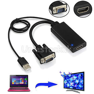 1080P VGA to HDMI + USB Audio Video Cable Adapter Converter For PC Laptop HDTV