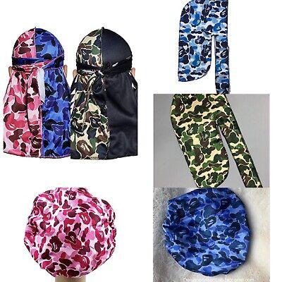 Designer Durag Bonnet Headband Wave Cap Silky Rag Turban Man