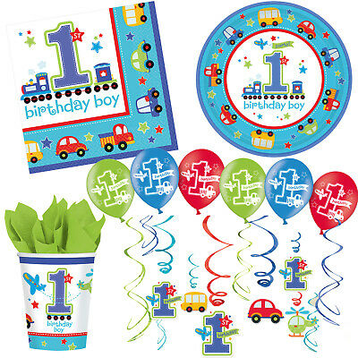 Deko 1. Kindergeburtstag Dekoration Junge Fahrzeuge Party erster Geburtstag blau (Ersten Geburtstag Dekoration)