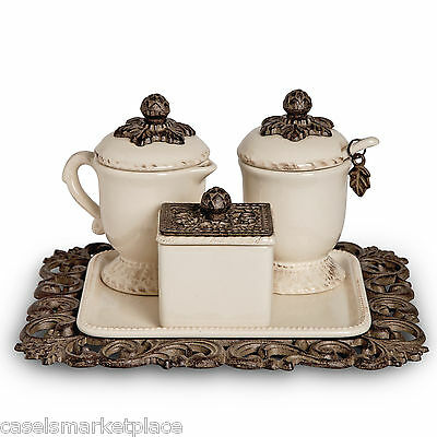 The GG Collection Acanthus Leaf Sugar & Cream Set w/ Sweetener Box on Tea Tray