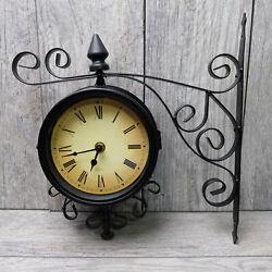 Medium Quartz Station Black Clock Dual Face Antique Fleur Vintage 12 x 11