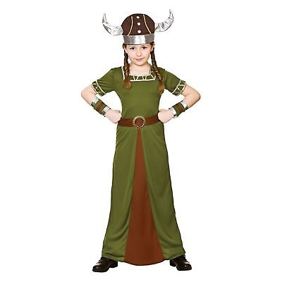 Viking Princess Historic Wartime England Kids Childs Girls Fancy Dress Costume (Viking Princess Costume)