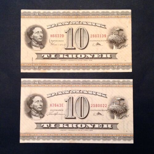 2 Notes - Denmark Ten 10 Kroner Prefix HD & HE