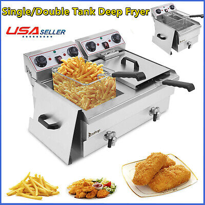 3400w Electric Countertop Deep Fryer Dual Tank Commercial Restaurant 16 Liter