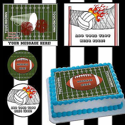 Football Cake Toppers (Edible Football volleyball Cake toppers picture sugar sheet image ideas easy)