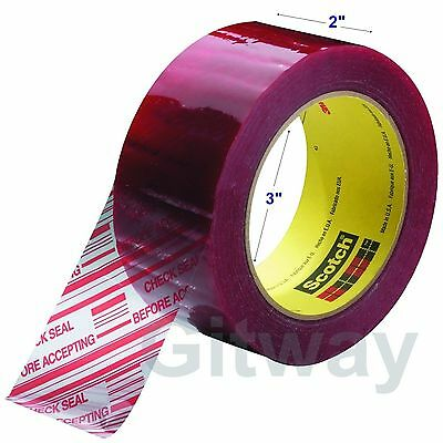 "1 Roll 3M Pre-Printed Tamper Evident Security Packaging Box Tape 2""x 110 Yards"